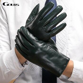 Gours Men's Winter Genuine Leather Gloves Dark Green Goatskin Driving Finger Gloves 2018 New Fashion Brand Mittens Warm GSM045