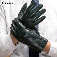 Gours Men's Winter Genuine Leather Gloves Dark Green Goatskin Driving Finger Gloves 2017 New Fashion Brand Mittens Warm GSM045