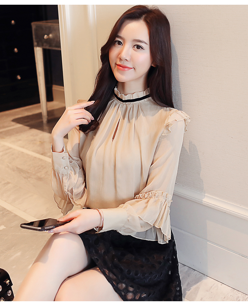Super fairy sweet chiffon shirt female 2019 spring new style quality beaded small shirt women s