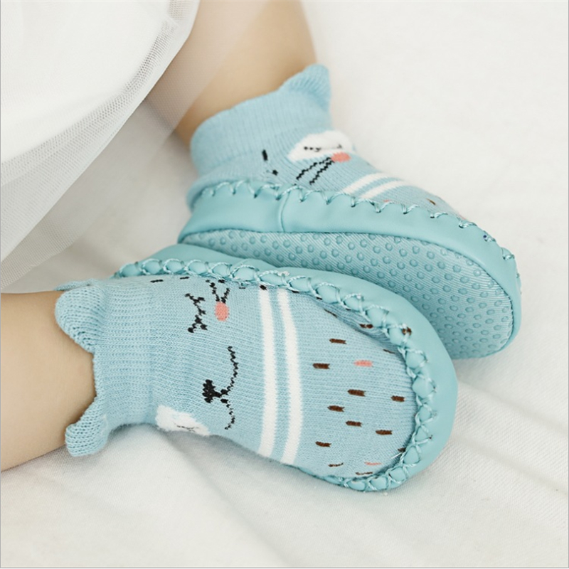 Unisex Baby Socks Shoes Anti Slip Floor Socks with Soft Rubber Bottom Infant Newborn Cotton Sock Boots for Indoor Outdoor L Brick Red