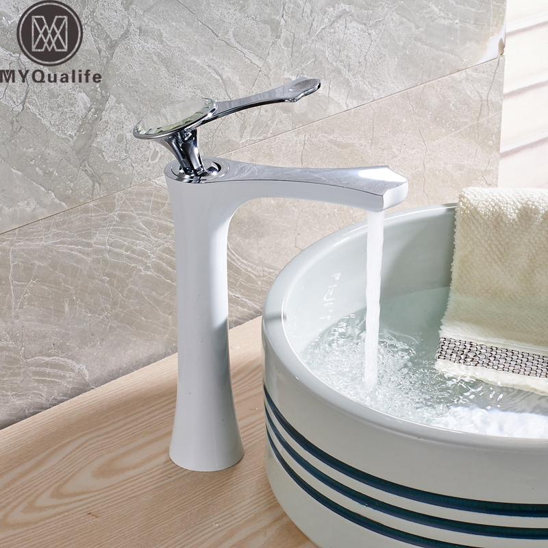Crystal White Basin Vessel Sink Faucet Single Lever Countertop Bathroom Mixer Taps with Hot and Cold Water pastoralism and agriculture pennar basin india