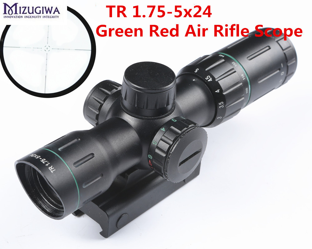 1.75-5x24 Green Red Air Rifle Scope Mil-dot Illuminated Air optical Scope with 20MM Rail Hunting Riflescope for Ari gun caza 2 5 10x40 air rifle scope reticle red green dot mil dot dual illuminated sight with red laser w rail mount airsoft gun hunting