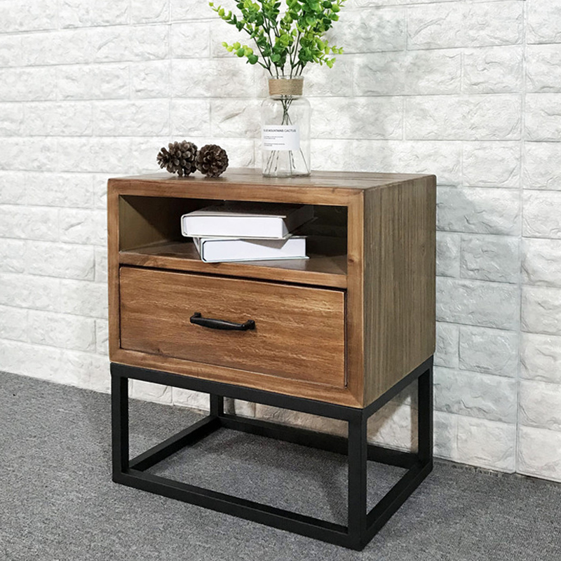Loft industrial Style American retro bedside table wrought iron wood bedside cabinet simple mini phone side table corner table - 3