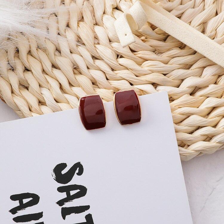 MENGJIQIAO 19 Korean New Vintage Geometric Irregular Square Water Drop Enamel Asymmetric Earrings For Women Fashion Oorbellen 3