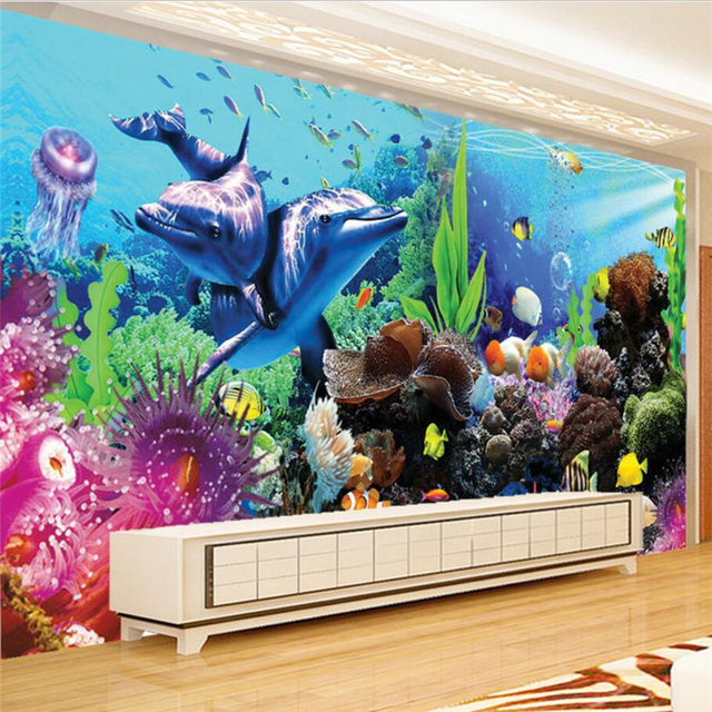 Study Room With Aquarium: Beibehang Custom Photo Wallpapers 3d Large Mural