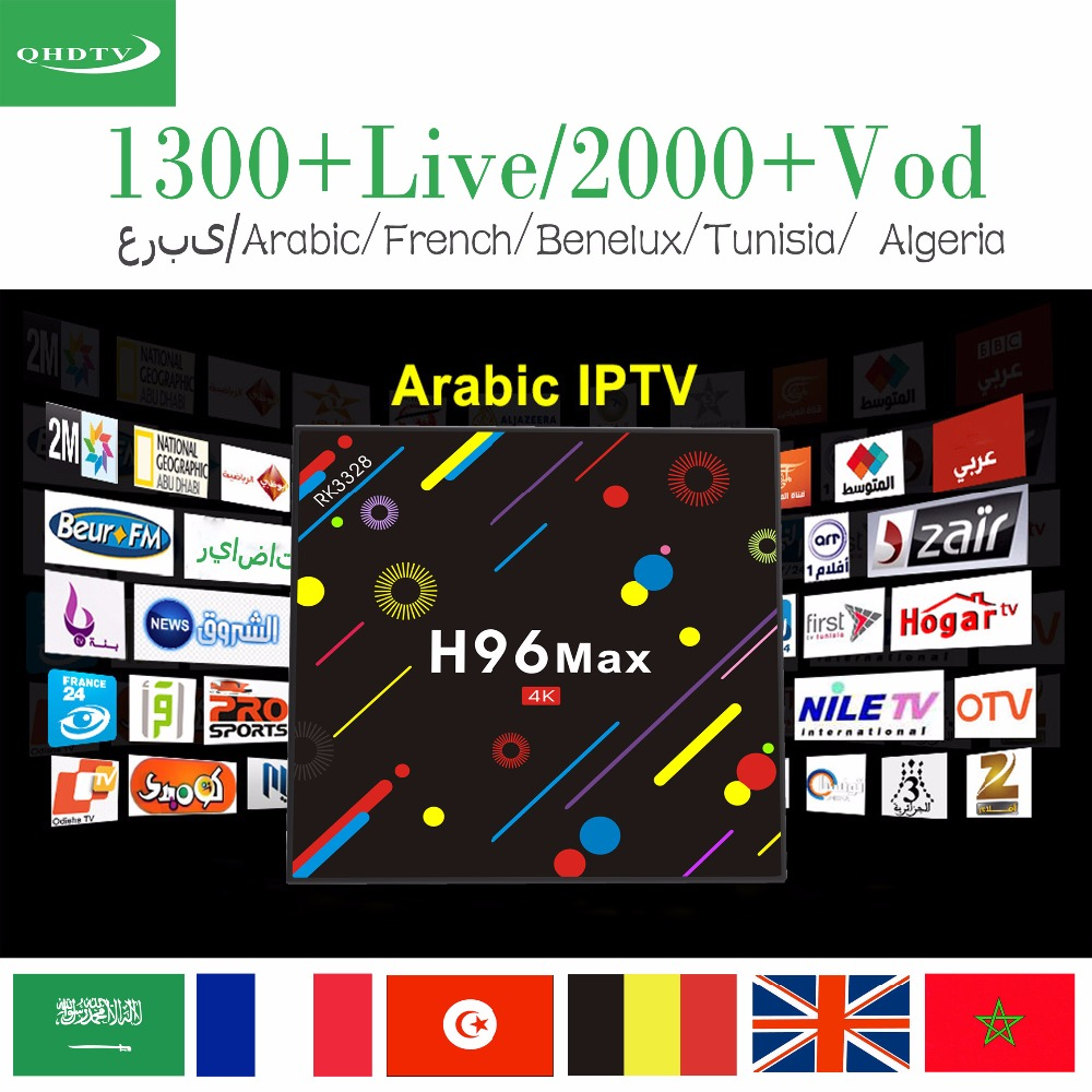 все цены на Arabic Franch IPTV H96 MAX H2 Android 7.1 Smart TV box RK3328 Quad-core 4GB32GB Set Top Box 1 year QHDTV 1450+Channels,2000 VOD