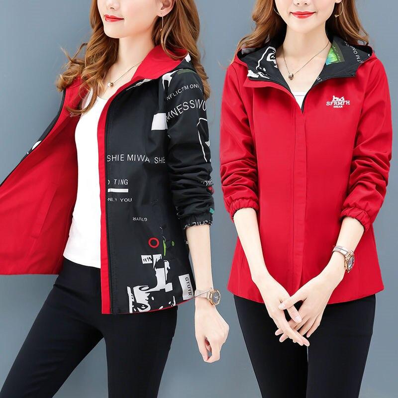 Streetwear Hooded Printed   jacket   women And Causal windbreaker   Basic     Jackets   2019 New Reversible baseball Zippers   jacket   4XL