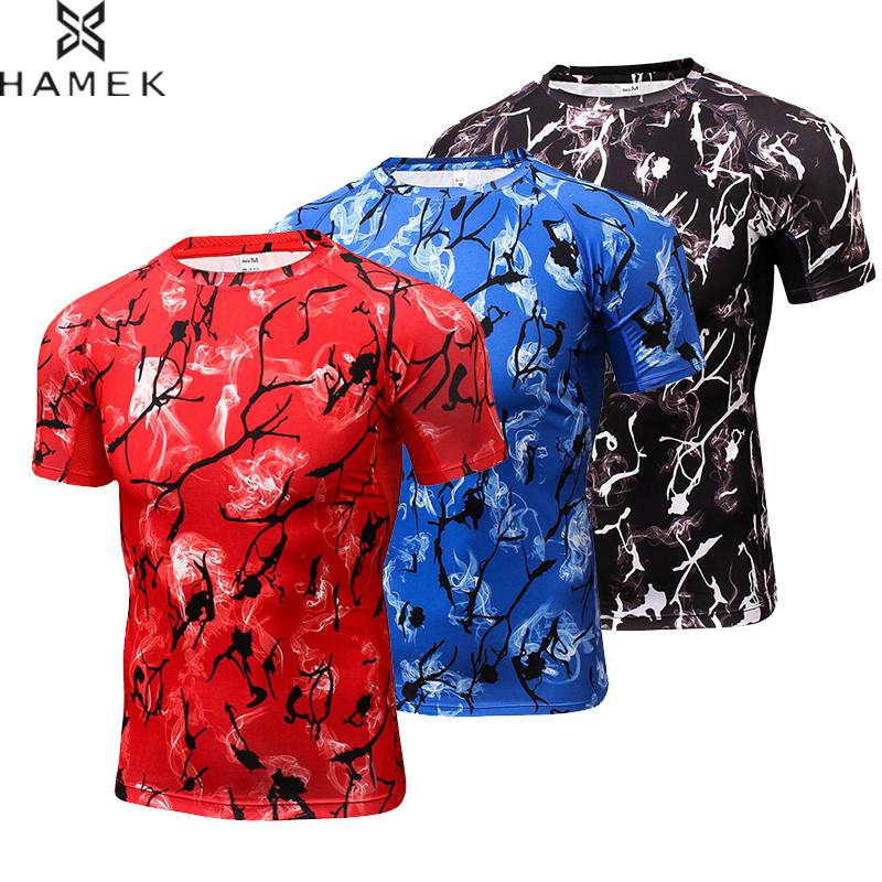 Men Hot Running Shirt Fitness Tight Blouse Gym Sportswear Tennis Soccer Jerseys Sport Suit Breathable Short Sleeve Man T-shirt
