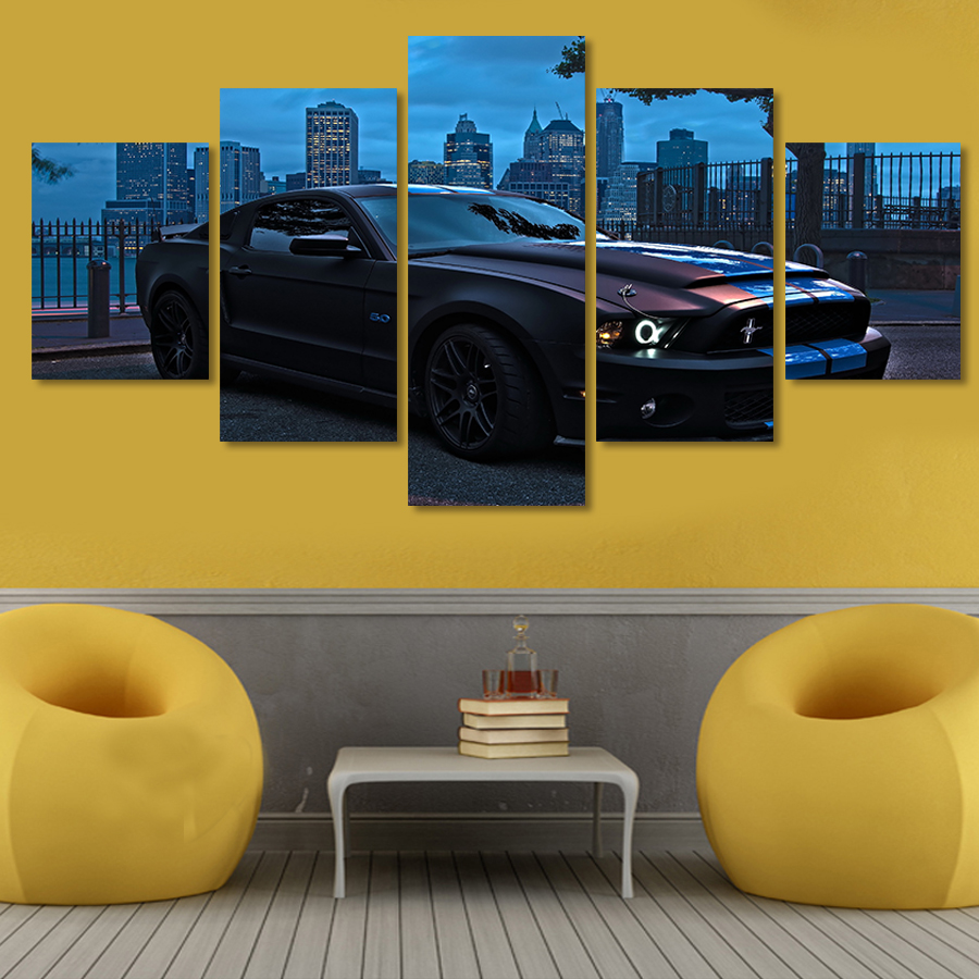 Unframed Printed For Ford Mustang Group Painting Living Room Decor ...