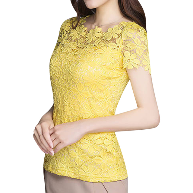 740f1a43ca6efd Plus Size 9 Colors Women New Lace Tops T-shirts Floral Solid Female Summer  Short Sleeve Slim Tees T Shirt Hollow Elegant S-5XL