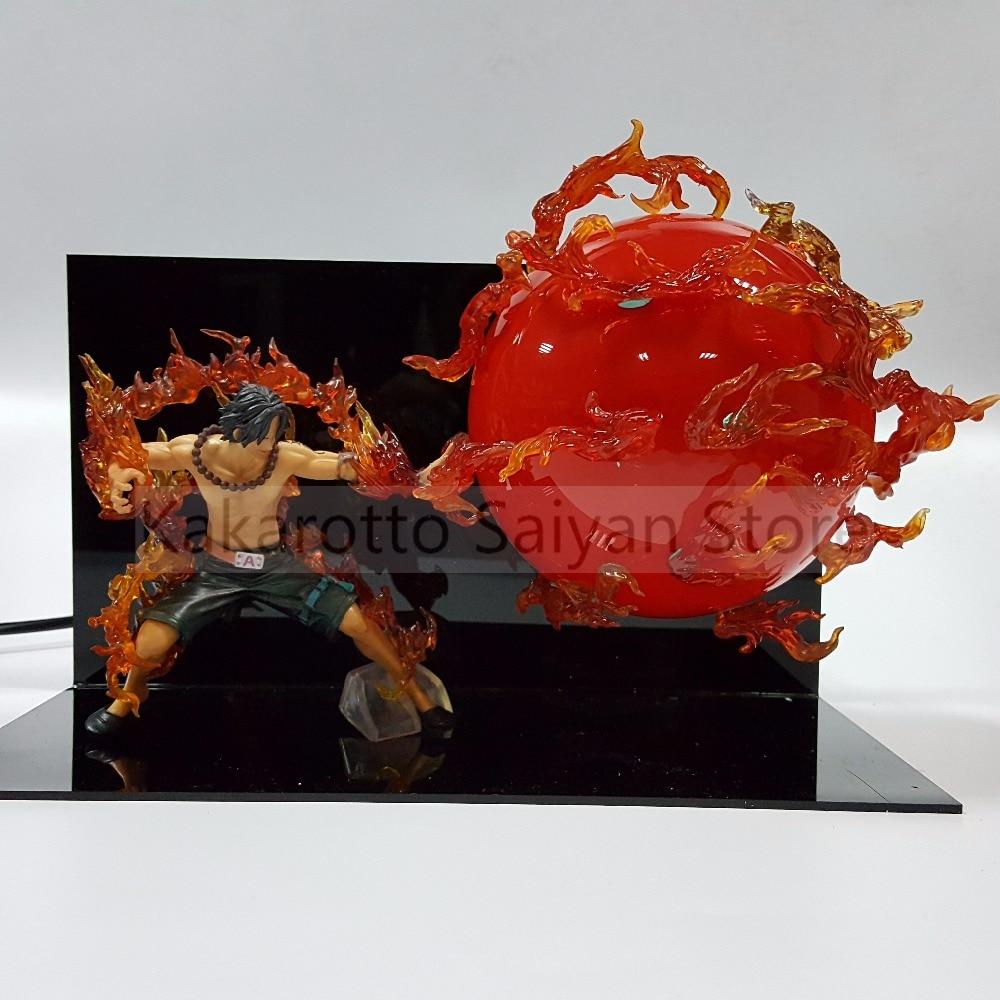 One Piece Ace Action Figures Fire Fist DIY One Piece Anime PVC Figurine Led Bulb Portgas D Ace Collectible Model T