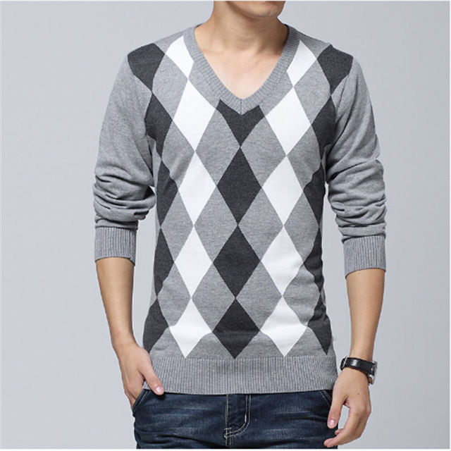 Neck Pullover Diamond Lattice Male Sweater Autumn New Arrive Fashion Long Sleeve Casual Silm Gray Sweater Men