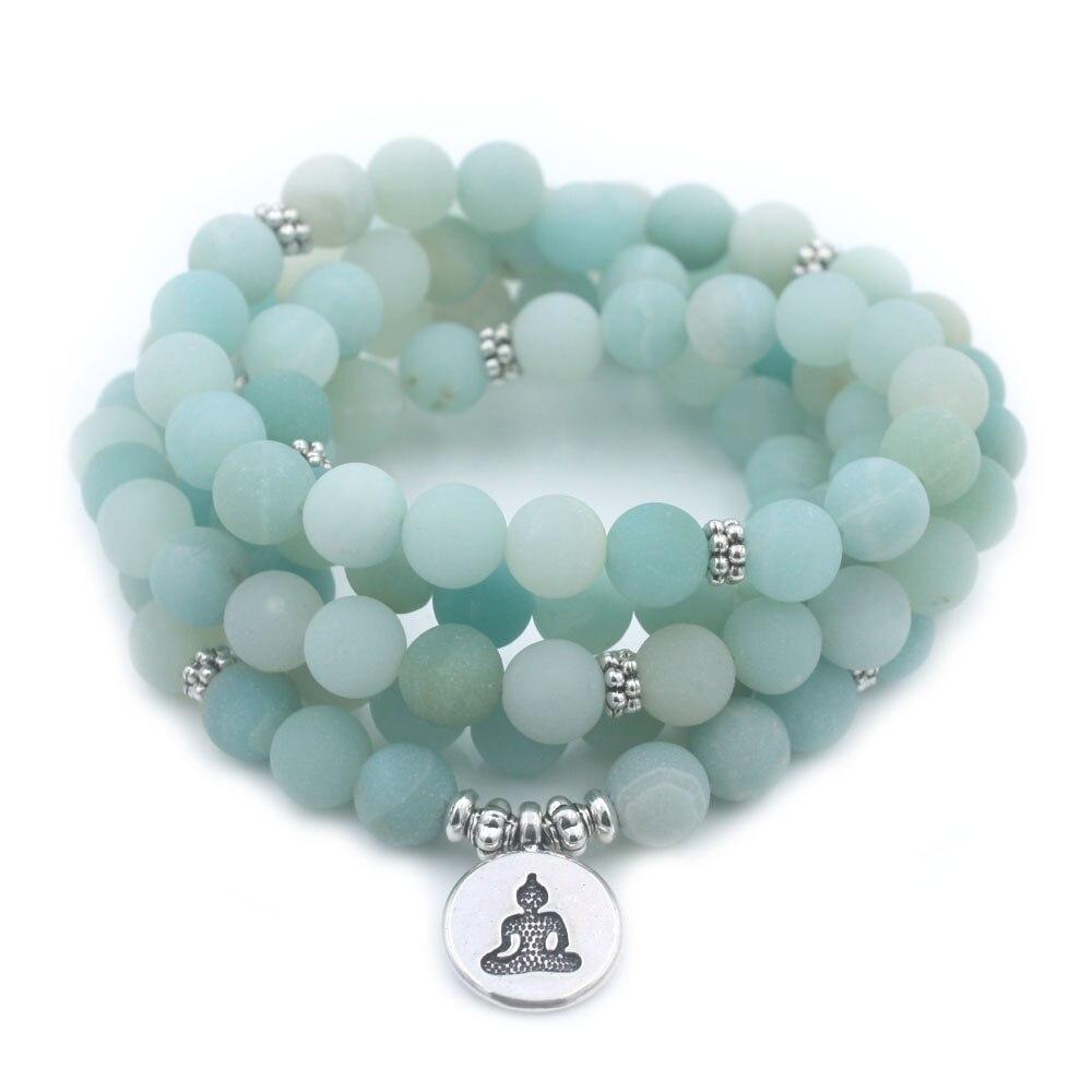 Fashion Women`s bracelet Matte Frosted high quality Amazonite beads with Lotus OM Buddha Charm Yoga Bracelet 108 mala necklace