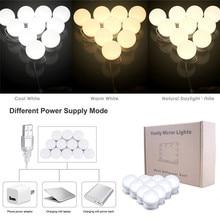 10 Светодиодный светильник для макияжа с зеркальными лампочками, супер яркий портативный косметический зеркальный светильник s Kit, Голливудский стиль, зарядка от USB, макияж#289551