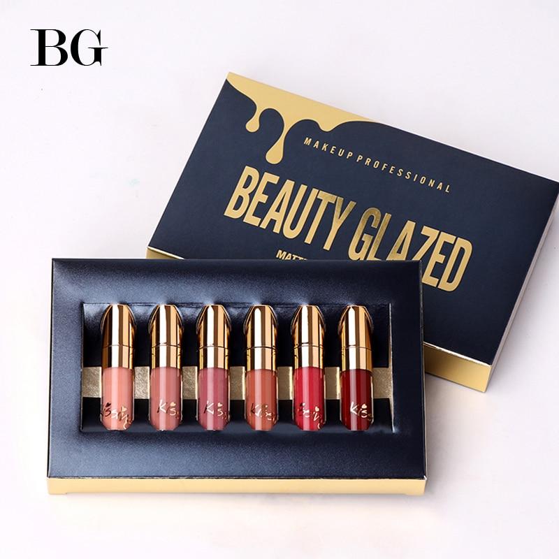 BEAUTY GLAZED Waterproof Lipstick Matte Lip Gloss Easy To Wear Make Up Lip Gloss Long-lasting Cometics 6 Colors Set maquillage