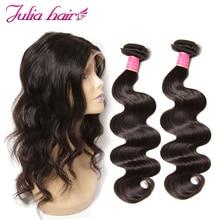 Ali Julia волосы 2 человеческие волосы пучки с 360 синтетический fronic бразильские пучки волнистых волос с закрытием remy волосы для наращивания