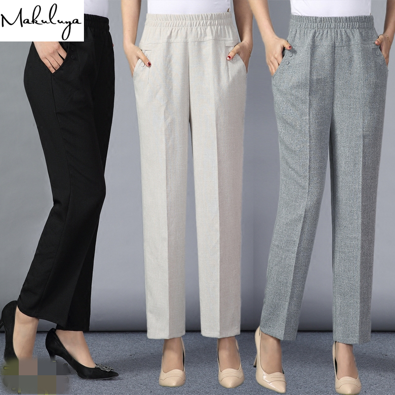 Makuluya Middle Old Women New Quality 4XL Plus Size Women Trousers Full Length Straight Style Elastic Waist Casual Lady Pants QW