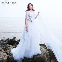 JANCEMBER Plus Size Wedding Dresses Illusion O Neck Tulle Short Sleeve Long Lace Shawl Bohemian Styal vestido de noiva 2019 New