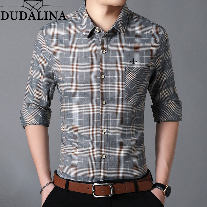 DUDALINA Long Men Sleeve Shirt 2018 NEW Men's Large Size Plaid Shirt Homens Casual Fashion Turn Down Collar Camiseta Size M 7XL