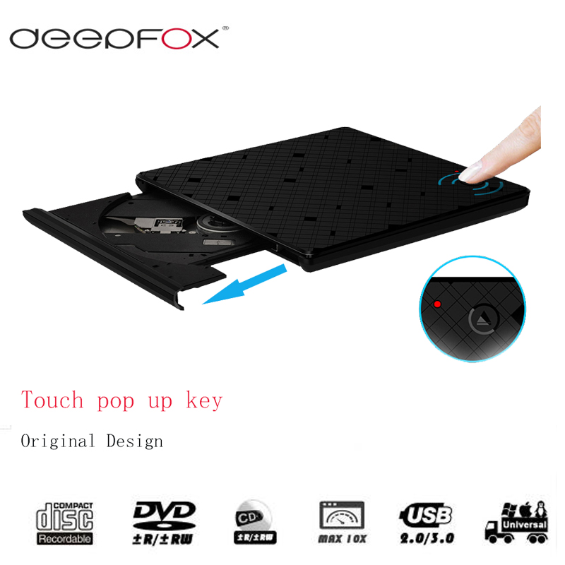 Deepfox USB 3.0 CD/DVD RW Burner External Optical Drive CD/DVD ROM Player For Notebook With Inductive Touch Switch laser a2 workbook with key cd rom