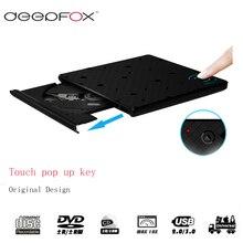Deepfox USB 3,0 CD/DVD RW горелки Внешний оптический привод CD/DVD Встроенная память плеер для Тетрадь с Индукционным сенсорный выключатель