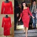 Hot Sale Curto Celebrity Dresses Inspiração Decote Colher Manga Longa Laço Vermelho vestido de Noite 2017 Vestidos de Kim Kardashian