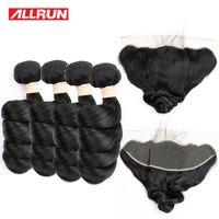 Allrun Chinês Solto Wave 4 Pacotes Com 13*4 Fechamento Rendas Feixes de Cabelo Cor Natural Do Cabelo humano Tecer Cabelo Não Remy 5 Pçs/lote