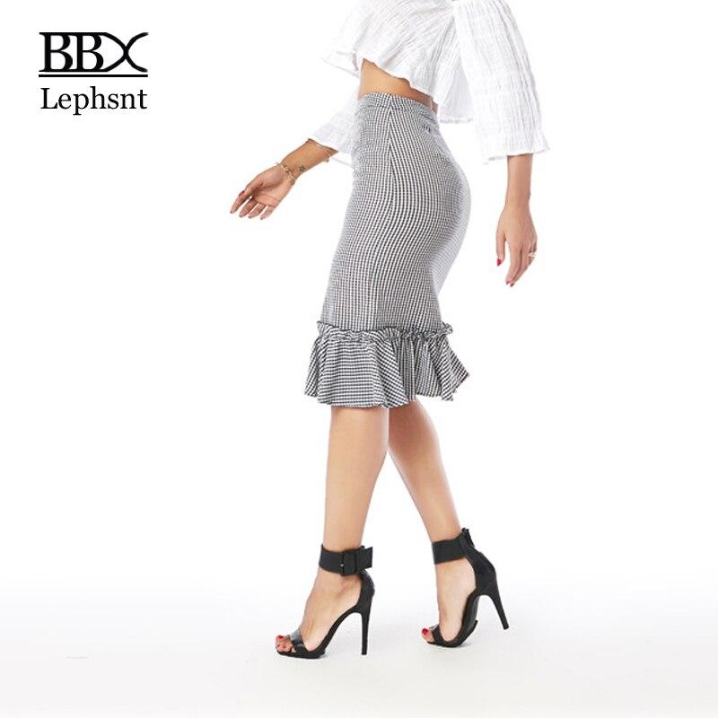 BBX Lephsnt Women Asymmetrical Skirt 2018 Plaid Skirt Ruffles Midi Office Skirt Female Summer Elegant High Waist Skirts B83012