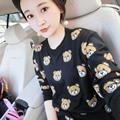 Cartoon Bear Knitting Long Sleeve T-shirt Casual Plus Size O-neck Women Autumn Tops Pullovers TY103