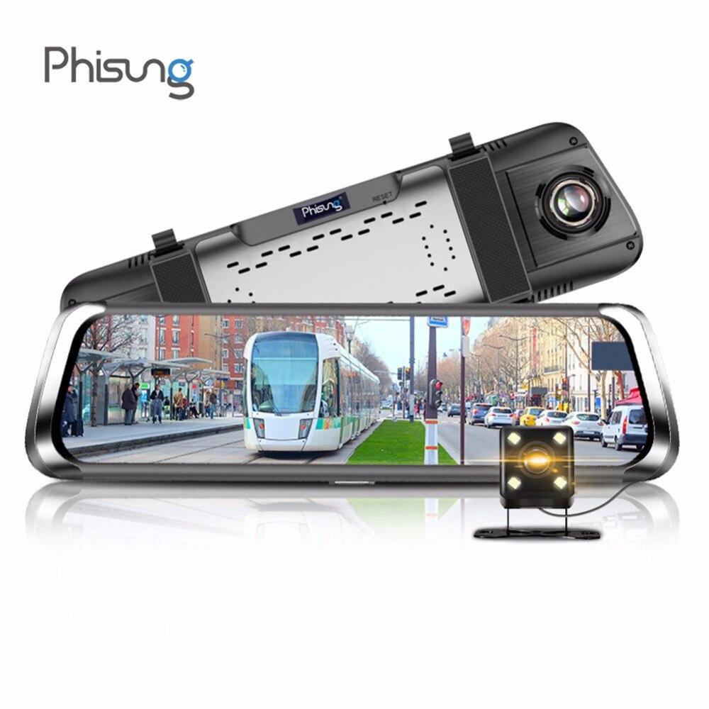 Phisung E08 10in IPS Touch Screen Dual Lens Bluetooth WiFi 4g Android 5.1 Dello Specchio di Rearview DVR WDR dash Cam