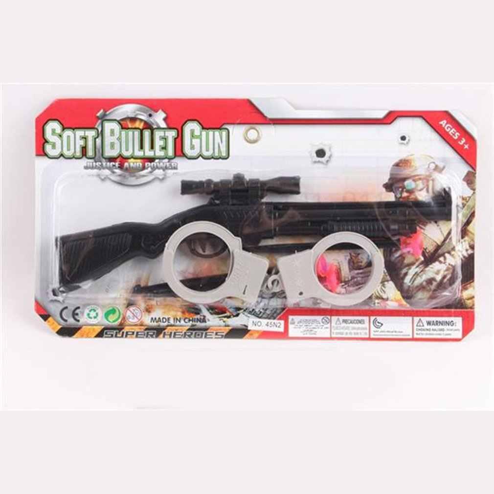 المحمولة اللعب مسدس مع أصفاد الأطفال لعبة البنادق رصاصة طرية بندقية البلاستيك مسدس الاطفال في الهواء الطلق متعة لعبة مطلق النار لعبة