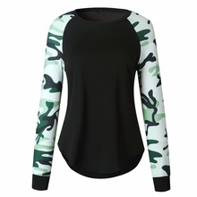 Women Autumn Yoga Sport T Shirt Camouflage Long Sleeved Quick Dry Fitness Top Female Winter Yoga T-Shirt Lady Cool Sportwear 5XL