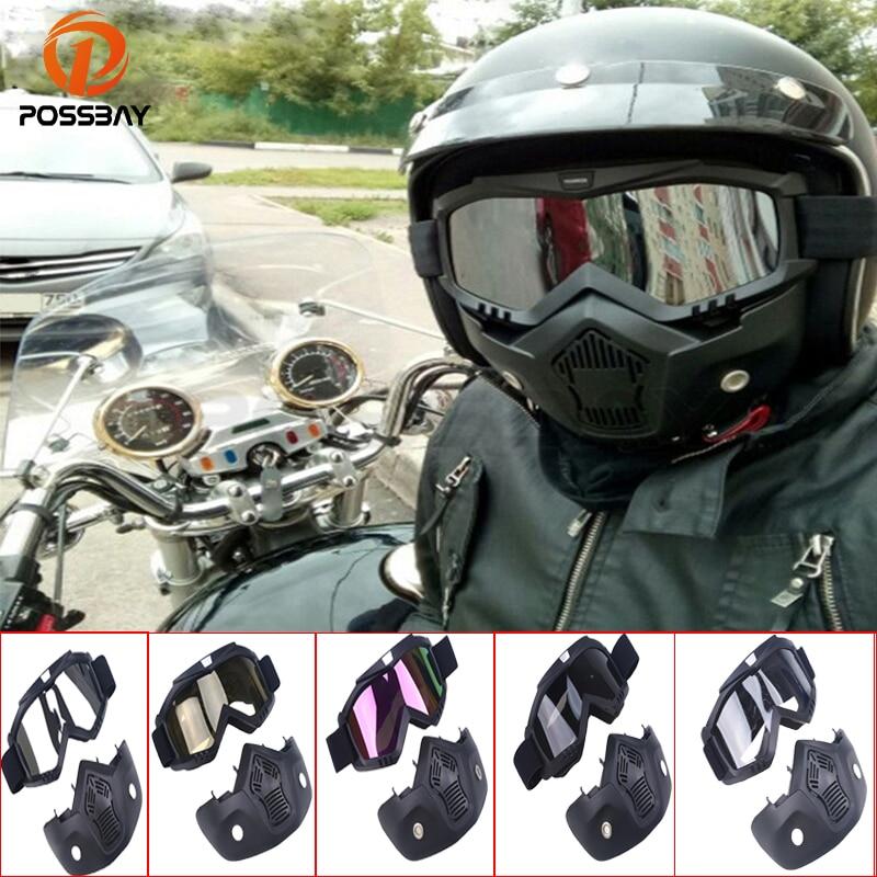 POSSBAY Vintage Gesicht Helm Brille Maske Abnehmbare Motocross ...