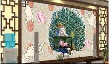 Custom 3d photo wallpaper 3d wall murals wallpaper Peacock Elephant Buddhist paintings TV backdrop 3d wallpaper for living room