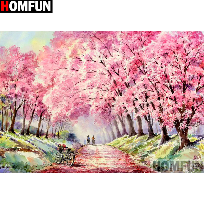 HOMFUN Full Square Round Drill 5D DIY Diamond Painting quot Flower tree quot 3D Embroidery Cross Stitch 5D Home Decor A13337 in Diamond Painting Cross Stitch from Home amp Garden