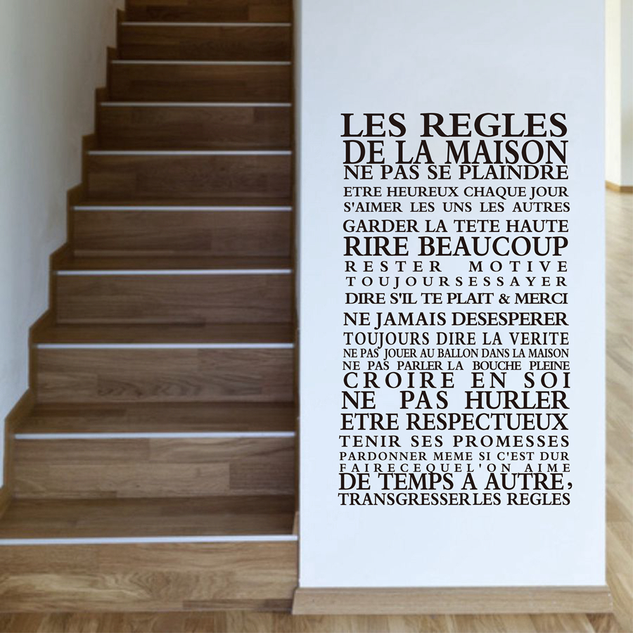 French version House rules quote wall stickers home decor , vinyl art decals sticker home decoration free shipping fr1000