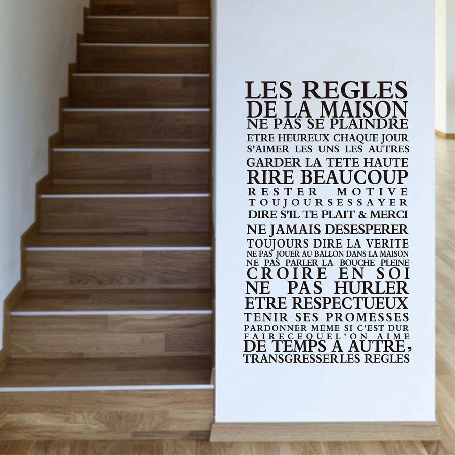 """Versión francesa """"Reglas de la casa"""" cita pegatinas de pared decoración para el hogar, calcomanías de vinilo arte decoración para el hogar envío gratis fr1000"""