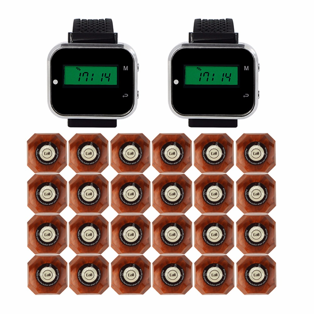 433MHz Wireless Pager Calling System Restaurant Equipment For Factory Coffee 2 pcs Watch Wrist Receiver + 24pcs Call Button 433mhz wireless pager calling system restaurant equipment for factory coffee watch wrist receiver 12pcs call button f3300a