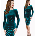 2017 Womens Winter Elegant Long Sleeve Velvet Ruched Wear Knee-Length For Business Office Party Stretch Bodycon Fitted Dress