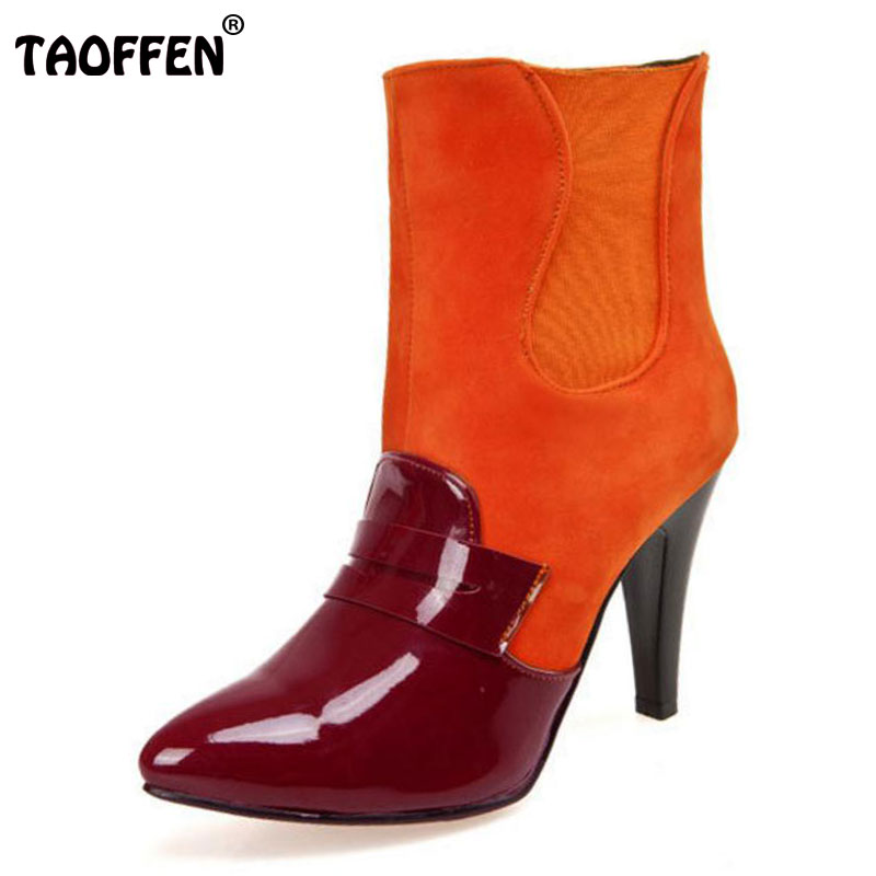 TAOFFEN Size 33-45 Winter Shoes Women High Heel Ankle Winter Boots For Women Zip Mixed Color Pointed Toe Warm Plush Botas women shoes high heel for winter boots pointed toe ankle boots for women martin boots fashion zip gladiator women boots