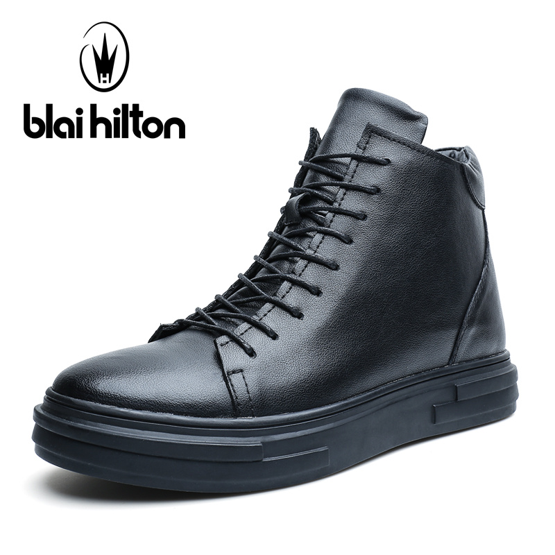цены Blai Hilton Autumn Luxury Genuine Leather fashion Western Winter Shoes Men Boots Platform Warm Fur Mens Ankle Motorcycle Boots