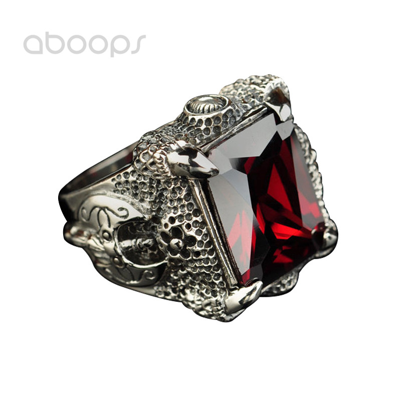 Vintage Black 925 Sterling Silver Dragon Claw Ring Inlaid Rectangle Black Red Stones for Men Boys Size 8 9 10 11 Free Shipping цена