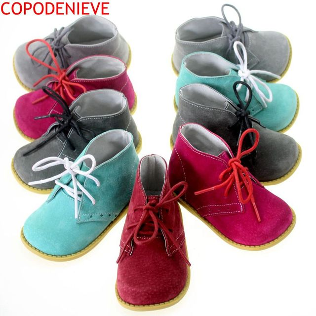 2016 Autumn winter New handmade comfortable girls boots leather Martin boys boots fashion kids boots High-quality children shoes