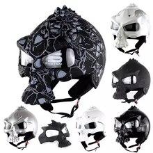 DOT czaszka kask motocyklowy Retro pół twarzy kaski Chopper motocykl Capacete Moto Cascos Racing Armet Masei