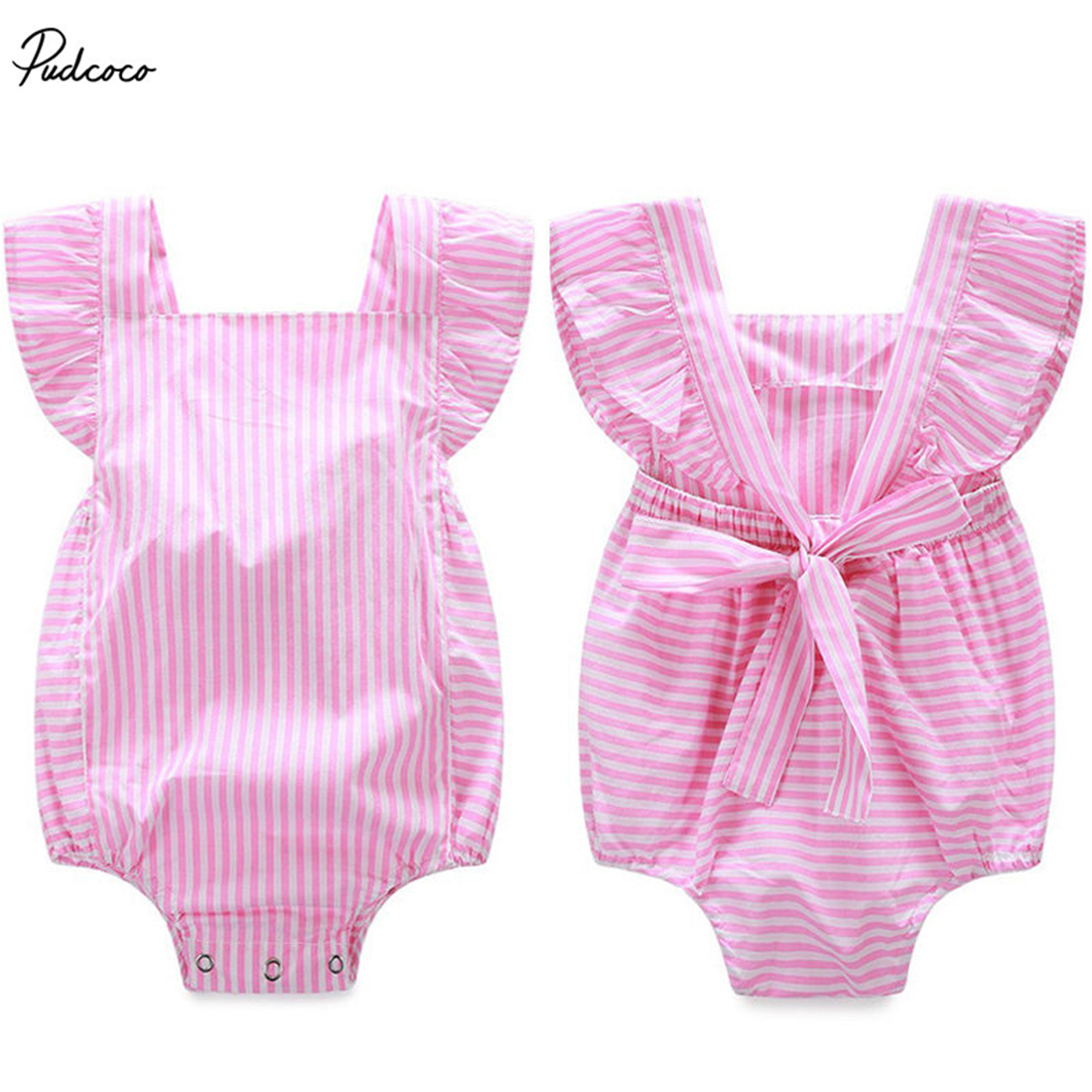 Children Toddler Baby Girls Striped   Romper   Sleeveless Backless Bandage Jumpsuit 2017 New Summer Outfits Sunsuit One-pieces