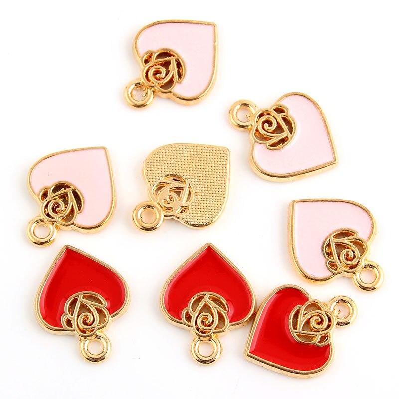 Clever 10 Stücke Legierung Metall Rose Herz Charme Anhänger Rosa Rot Emaille Perlen Schmuck Finden Weihnachten 14x17mm GroßE Vielfalt Schmuck & Zubehör Schmucksets & Mehr