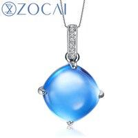 ZOCAI синий Secret 7.0 ct Природный Подлинная Голубой топаз 18 К белого золота подвеска + 925 Серебряная цепочка D04495