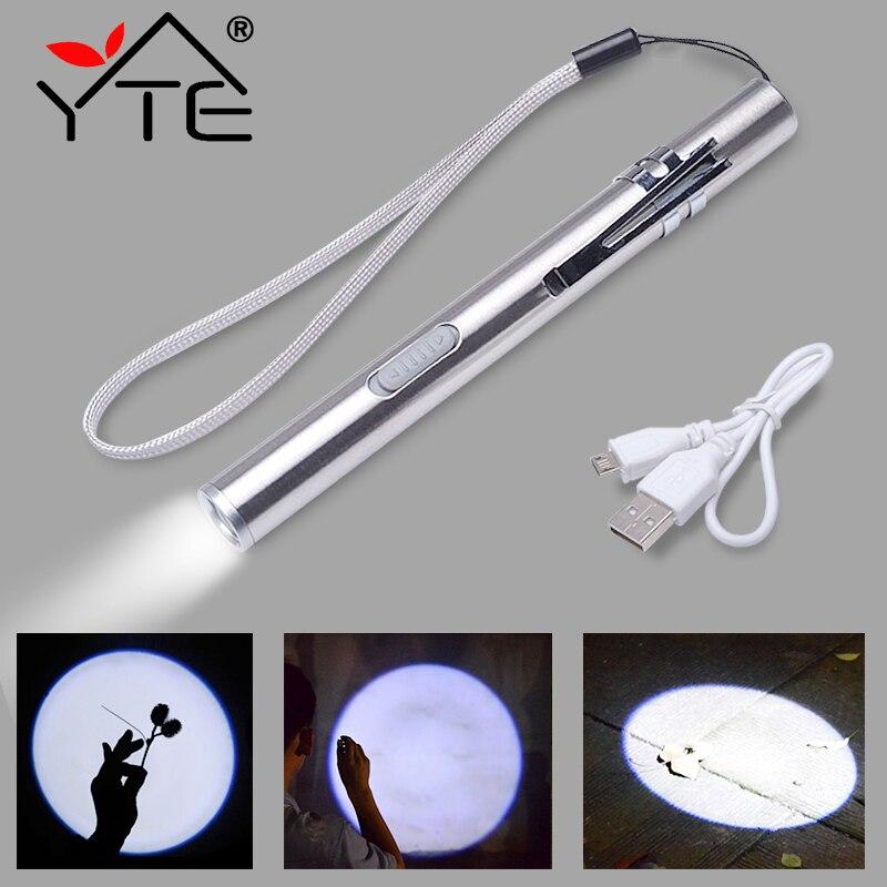 YTE USB Ricaricabile o batteria HA CONDOTTO LA Torcia Elettrica di Alta Qualità Potente Mini HA CONDOTTO LA Torcia XML Della Penna di Disegno Appeso Con Clip In Metallo