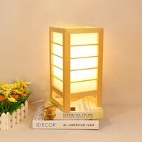 Japanischen stil Art Deco Tisch Lampe Einfache Moderne Holz Led Schreibtisch Lampe Scotch Schlafzimmer Nacht Lampe Home Deco Solide holz Drop-in LED-Tischleuchten aus Licht & Beleuchtung bei