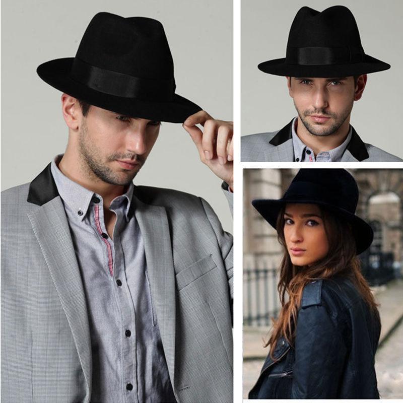 d442d47155af9 Men Women Wool Felt Fedora Hats Soft   Crushable Stingy Brim Derby Trilby  Black